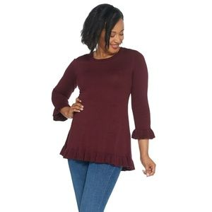 NEW Isaac Mizrahi Live Peplum Sweater Small Maroon